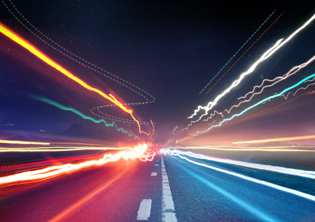 Foto de Urban Traffic Light Trails - Light trails from transport - rush hour. - Imagen libre de derechos