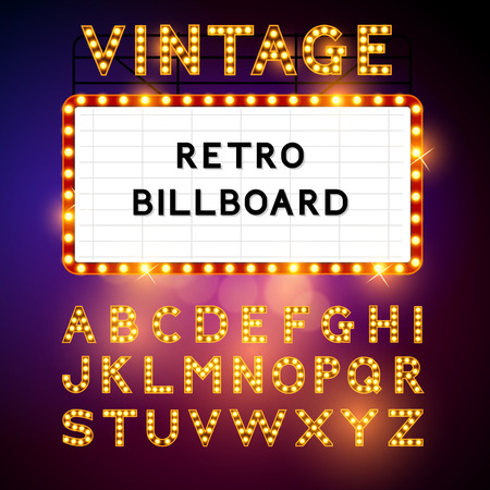 Retro Billboard waiting for your message! Also includes glamorous vector alphabet Vector illustration