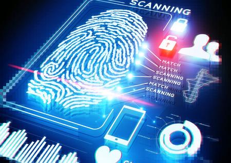 Photo pour Digital Fingerprint Scanning background. - image libre de droit