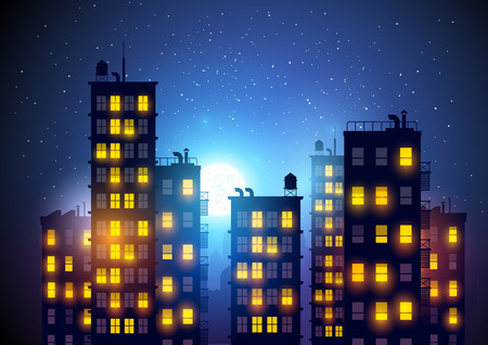 City at night. Vector illustration of apartment blocks in a city at night.