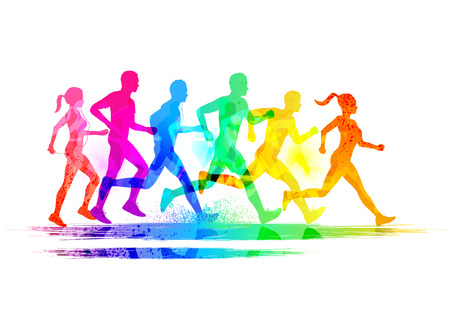 Foto de Group Of Runners, men and women running to keep fit  Vector illustration  - Imagen libre de derechos
