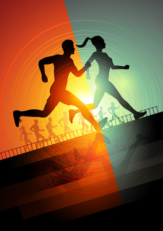 Group Of Runners, men and women running to keep fit  Vector illustration