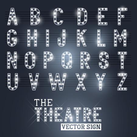 Illustration pour Glamorous Showtime Theatre Sign and Alphabet  Vector illustration  - image libre de droit