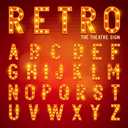 Retro Lightbulb Alphabet Glamorous showtime theatre alphabet  Vector illustration
