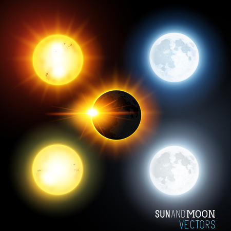 Sun and moon Vector Set  Various vector suns and moons including an eclipse  Vector illustration