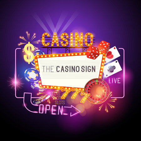 Casino Party Vector - Role the dice - Win big! Casino vector illustration design with poker, playing cards, slots and roulette. Glowing Casino sign. Layered illustration.