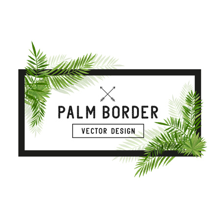 Illustration for Tropical Palm Leaf Border Vector. Summer Palm tree leaves around a border. Vector illuatration. - Royalty Free Image