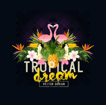 Illustration pour Tropical Summer Vector. Tropic elements including flamingo, Palms, Toucans, Bird of paradise flowers and pineapples - image libre de droit