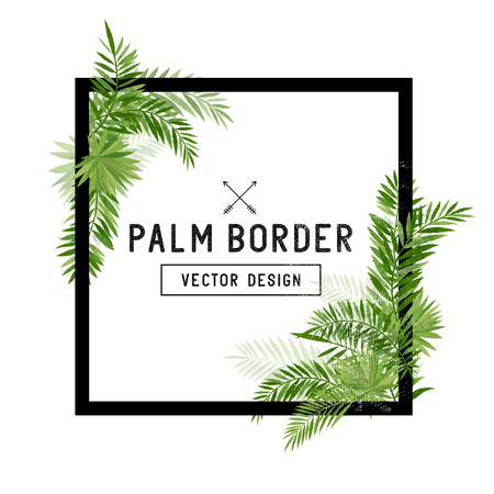 Illustration for Tropical Palm Leaf Border Vector. Summer Palm tree leaves around a square border. Vector illuatration. - Royalty Free Image