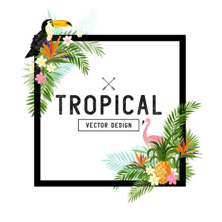 Illustration pour Tropical Border Design. tropical hand drawn elements including bird of paradise flower, Toucan and flamingo birds and tropical floral elements. - image libre de droit