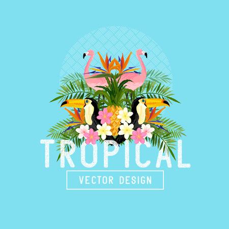 Illustration pour Tropical Summer Vector. Tropic elements including flamingos, Palms, Toucans, Bird of paradise flowers and pineapples - image libre de droit