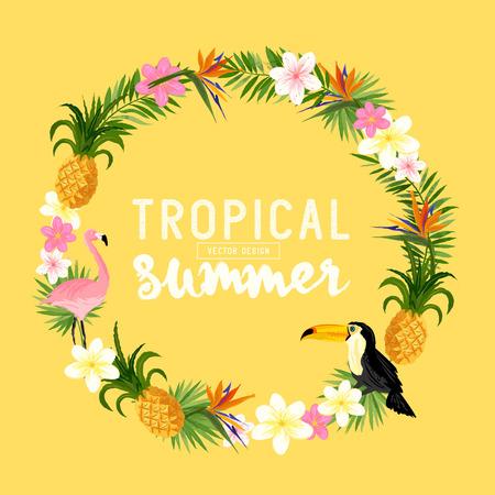 Illustration pour Tropical Wreath. Including flamingo, Palms, Toucans, Bird of paradise flowers and pineapples. - image libre de droit