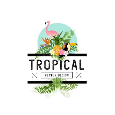 Illustration pour Tropical Design Elements. Various tropical objects including Toucan bird, pineapple and palm leaves. - image libre de droit