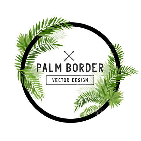 Illustration pour Tropical Palm Leaf Border Vector. summer Palm tree leaves around a circle border. Vector illuatration. - image libre de droit
