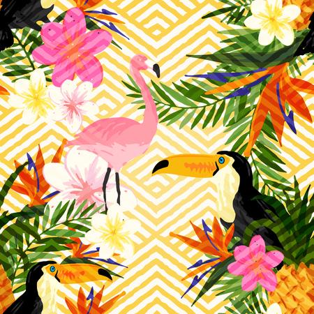 Illustration pour Tropical Geometric Summer. Tropical summer seamless pattern background. - image libre de droit