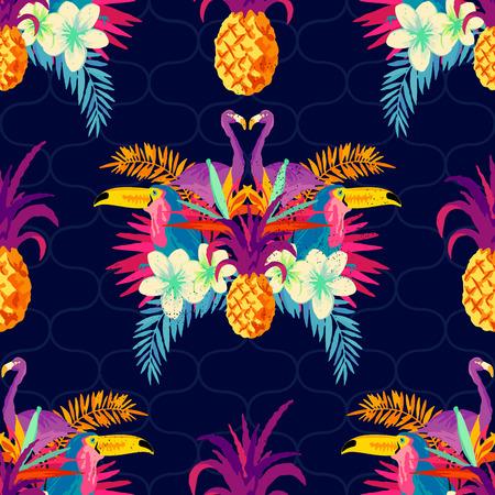 Illustration pour Vivid Tropical Seamless Pattern. Vector illustration. - image libre de droit