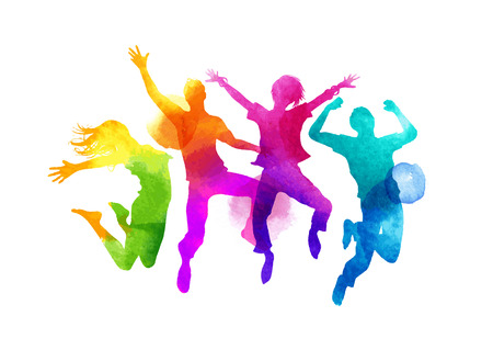 Photo pour A group of friends jumping expressing happiness. Watercolour illustration. - image libre de droit