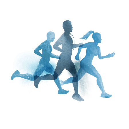 Illustration pour A team of active runners. Watercolour illustration. - image libre de droit