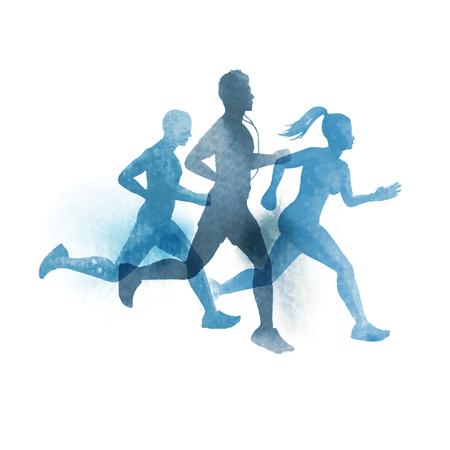 Ilustración de A team of active runners. Watercolour illustration. - Imagen libre de derechos