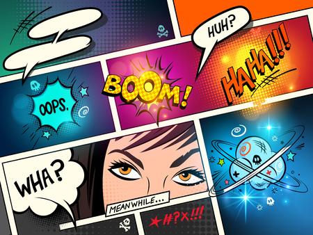 Ilustración de Speech Bubbles on a comic strip background with cartoon actions. vector illustration - Imagen libre de derechos