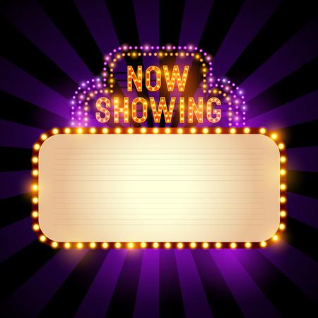 Illustration pour Vintage theatre / cinema sign with lights and room for text. Vector illustration - image libre de droit