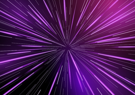 Illustration pour Fast moving at light speed -  retro warp star beams! Abstract vector background. - image libre de droit
