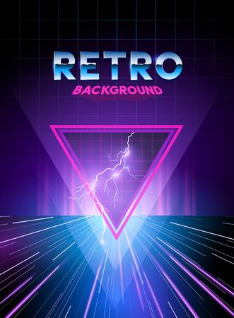 Illustration pour Retro 1980's digital landscape background with neon effects. - image libre de droit