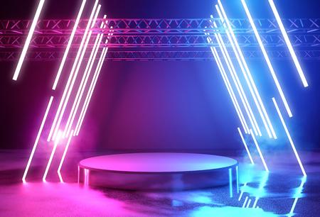 Photo pour Glowing neon lighting and a blank platform for product placement, 3D illustration. - image libre de droit