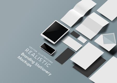 Ilustración de A set of realistic office stationery and tools mockup template with 3D effect. Vector illustration. - Imagen libre de derechos