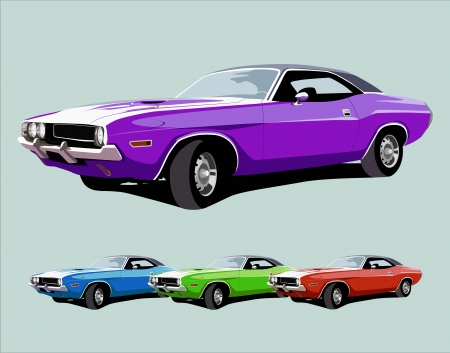 hot american muscle car. vector illustration