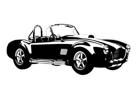Illustration pour silhouette Classic sport car ac cobra roadster vector illustration - image libre de droit