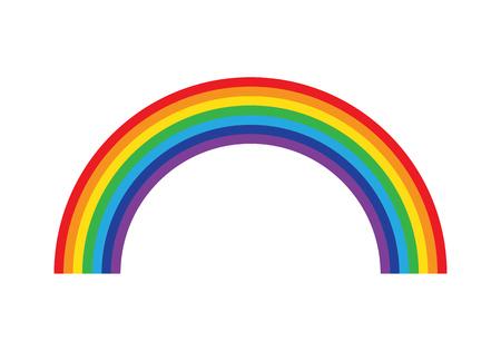Ilustración de Rainbow isolated on white background icon flat color. Vector illustration. - Imagen libre de derechos