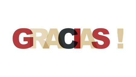 Illustration for Gracias, phrase overlap color no transparency. Concept of simple text for typography poster, sticker design, apparel print, greeting card or postcard. Graphic slogan isolated on white background. Vector illustration. - Royalty Free Image