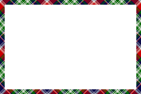 Illustration for Border frame vector vintage background. Plaid pattern fabric texture. Tartan ribbon collage photo frames in retro style. - Royalty Free Image