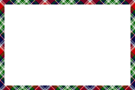 Illustration pour Border frame vector vintage background. Plaid pattern fabric texture. Tartan ribbon collage photo frames in retro style. - image libre de droit