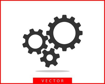 Illustration pour Metal gears and cogs vector. Gear icon flat design. Mechanism wheels logo. Cogwheel concept template. - image libre de droit