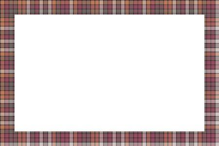Illustration pour Rectangle borders and Frames vector. Border pattern geometric vintage frame design. Scottish tartan plaid fabric texture. Template for gift card, collage, scrapbook or photo album and portrait. - image libre de droit