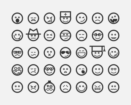 Illustration for Big set smiles faces. Collection smile icon vector symbol. Smiley face cartoon character. - Royalty Free Image