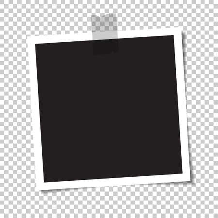 Illustration pour Empty photo with a shadow is glued with tape. Vector illustration. - image libre de droit