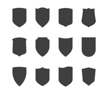 Photo pour Shield icons set. Protection vector symbol. Black on white background. - image libre de droit