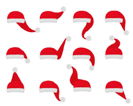 Illustration for Santa hat vector. Set christmas red hats isolated on white. - Royalty Free Image