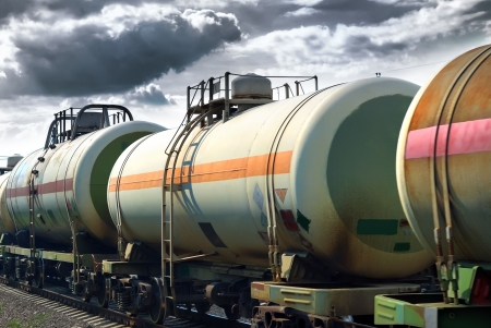 Photo for Set of tanks with oil and fuel transport by rail  - Royalty Free Image