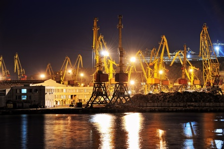 night view of the industrial port with cargoes