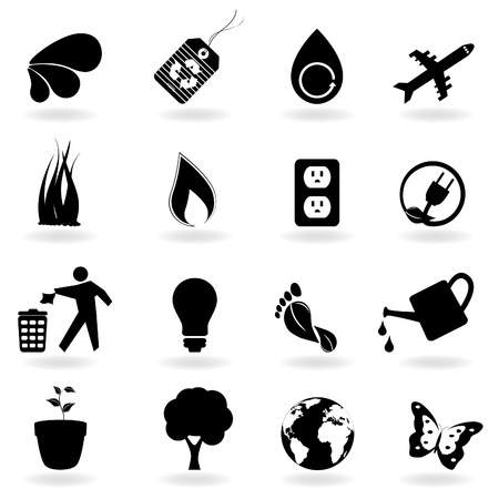 Eco and environment icons in black