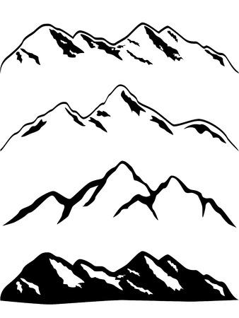 Illustration pour Various mountains with snow caps - image libre de droit