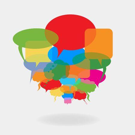 Illustration pour Colorful cartoon speech and talk bubbles or balloons - image libre de droit
