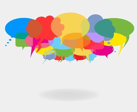 Illustration pour Social network talk and speech bubbles - image libre de droit