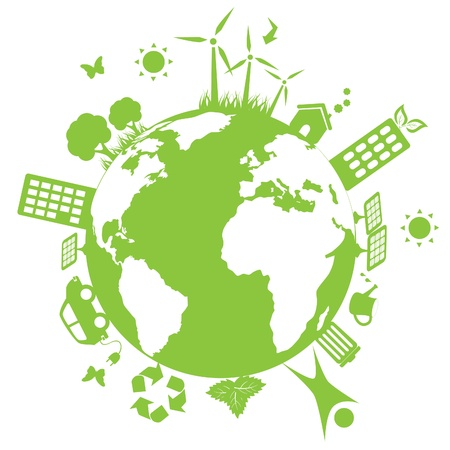 Green environment symbols on earth