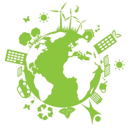 Green environment symbols on earth