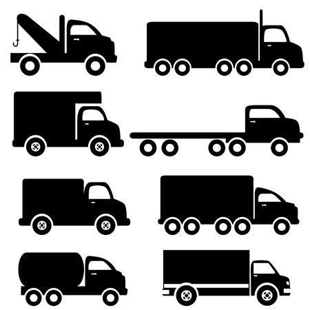 Illustration pour Various truck silhouettes in black - image libre de droit